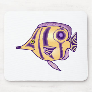 Purple Butterfly Fish Mouse Pads