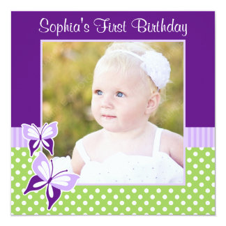 Purple Butterfly Green Polka Dot Birthday Photo 13 Cm X 13 Cm Square Invitation Card