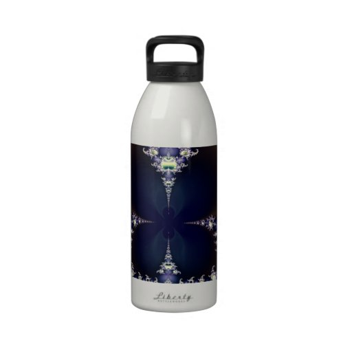 Purple Butterfly in Ice Crystals Fractal Art Gifts Reusable Water Bottles