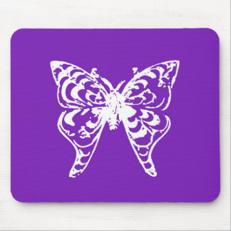 Purple butterfly mouse pad