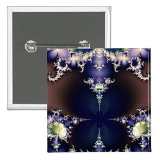 Purple Butterfly on Ice Crystals Fractal Art Gifts Button