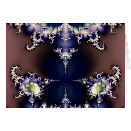 Purple Butterfly on Ice Crystals Fractal Art Gifts Cards
