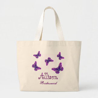 Purple Butterfly Personalized Name Bridesmaid Large Tote Bag