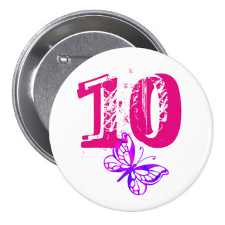 Purple butterfly, pink '10' button for age 10.