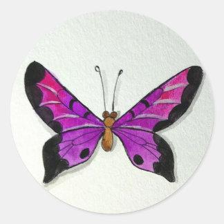 Purple Butterfly Round Sticker