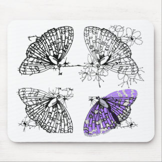 Purple Butterfly sketch Mouse Pad