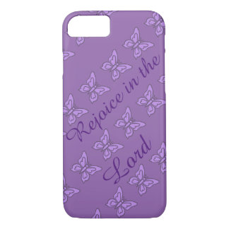 Purple butterfly tiles rejoice in the Lord iPhone 8/7 Case