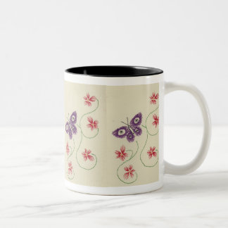 Purple Butterfly Two-Tone Coffee Mug