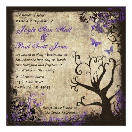 Purple Butterfly Vintage Wedding Invitation