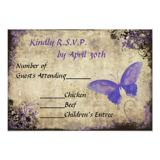 Purple Butterfly Vintage Wedding RSVP Invitation