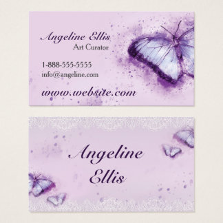 Purple Butterfly Watercolour Business Card