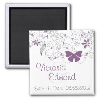 Purple Butterfly Whimsy Save the Date Magnet