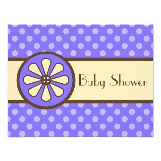 Purple Button Flower Baby Shower Invitations