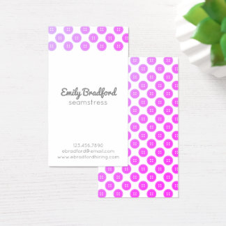 Purple Button Seamstress Sewing Business Cards