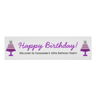 Purple Cake 40th Birthday Party Banner Poster