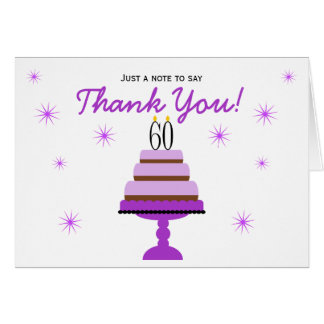 Purple Cake 60th Birthday Thank You Note Card