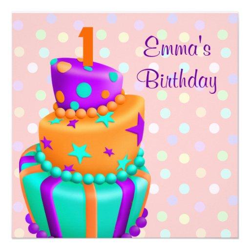 Purple Cake Presents Girls 1st Birthday Party Custom Announcements ...
