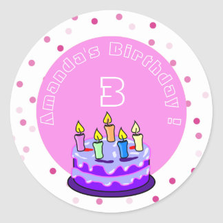 purple cake with candles birthday personalized round sticker