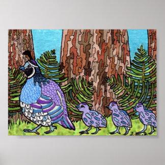 Purple California Quail with Babies Mini Folk Art Poster