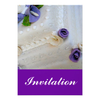 Purple calla lilie and white wedding cake personalized invitations
