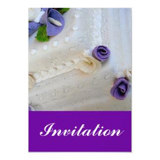 Purple calla lilie and white wedding cake 5x7 paper invitation card
