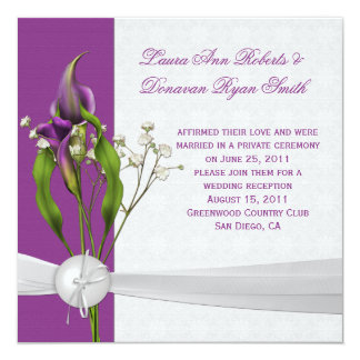 Purple Calla Lilies White Damask Post Wedding Card