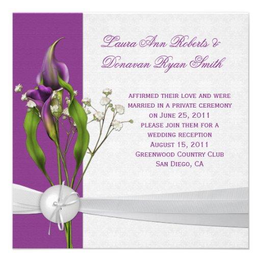 Purple Calla Lilies White Damask Post Wedding Announcement