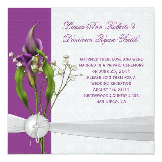 Purple Calla Lilies White Damask Post Wedding 5.25x5.25 Square Paper Invitation Card