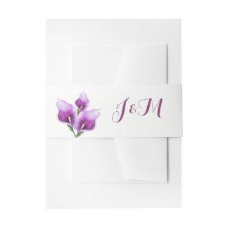 Purple Calla Lillies Monogram Floral Wedding Invitation Belly Band