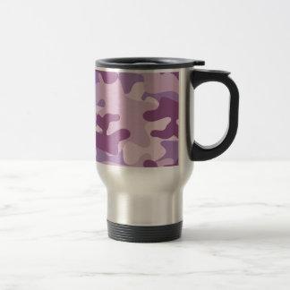 Purple Camo Design Stainless Steel Travel Mug