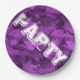 Purple Camo Paper Plate