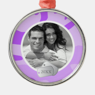 Purple Camo Pattern and Dog Tags Photo Silver-Colored Round Decoration