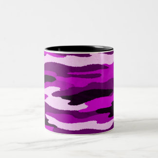 Purple Camo Print Two-Tone Coffee Mug