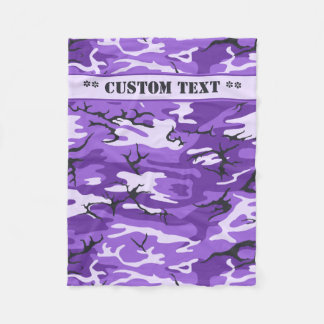 Purple Camo w/ Custom Text Fleece Blanket