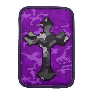 Purple Camo with Cross iPad Mini Sleeve