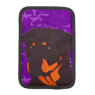 Purple Camo with Rottweiler iPad Mini Sleeve