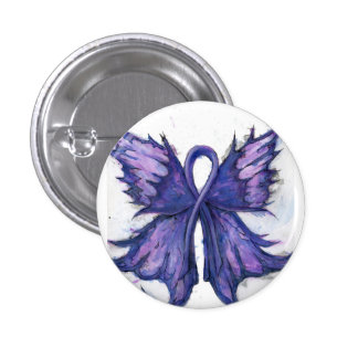 Purple Cancer Ribbon with Butterfly Wings 3 Cm Round Badge