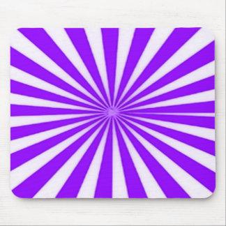 Purple Candy Cane Star Burst Stripes Pattern Mouse Pad