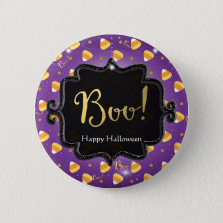 Purple Candy Corn & Gold Dots Whimsical Halloween 6 Cm Round Badge
