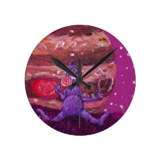 Purple Candy eating Cyclops Over jupiter Wallclocks