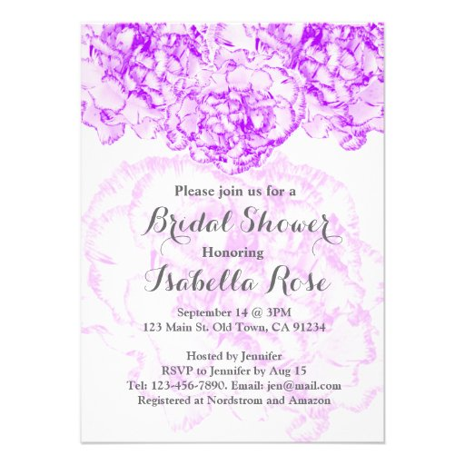 Purple carnation bridal shower FMW14 Personalized Invitations