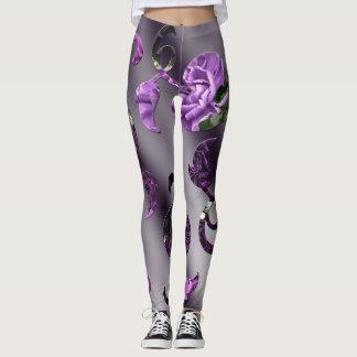 Purple Carnations Vines Leggings