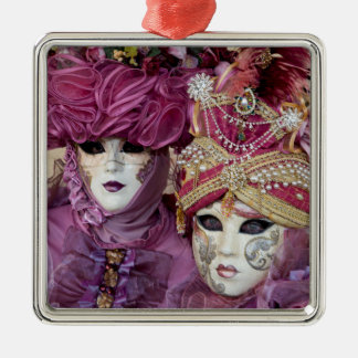 Purple Carnival costume, Venice Silver-Colored Square Decoration