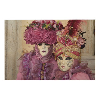 Purple Carnival costume, Venice Wood Print