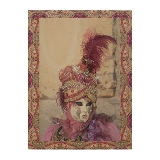 Purple Carnival Costume, Venice Wood Print