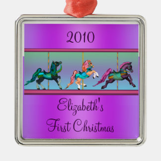 Purple Carousel Ponies Babys First Christmas Metal Ornament