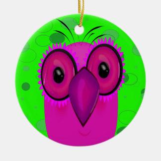 Purple Cartoon Owl on a Lime Green Background Christmas Ornaments