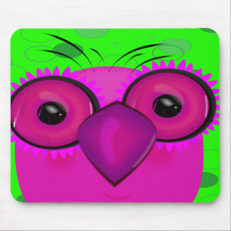 Purple Cartoon Owl on a Lime Green Background Mouse Pad