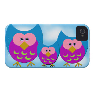 Purple Cartoon Owls iPhone 4/4S Case