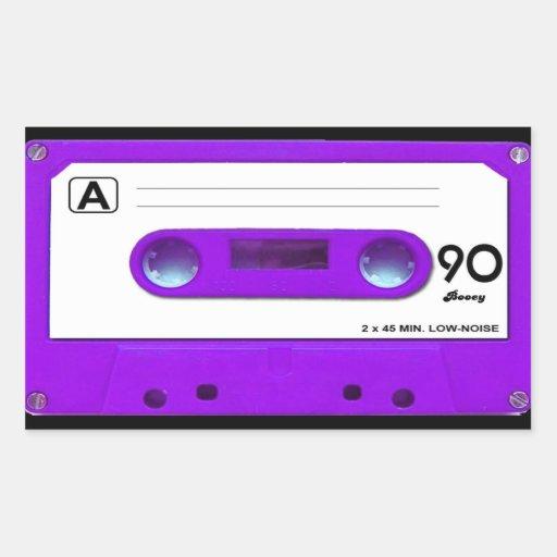 Purple Cassette Tape Rectangular Sticker